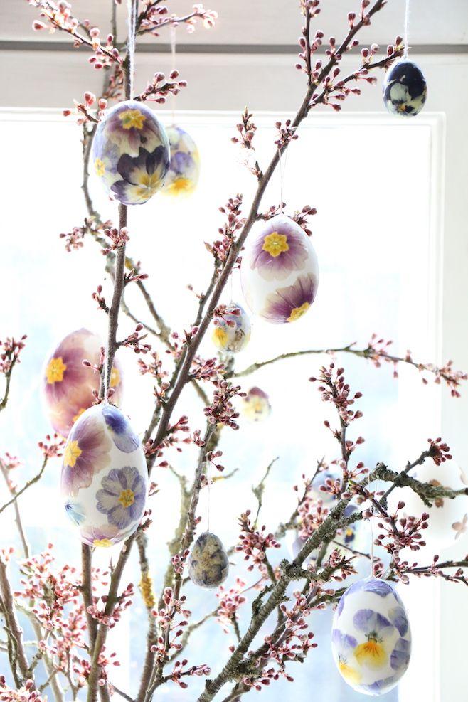 """Jeg elsker alt ved påske – foråret er på vej ,– eller næsten her, og så er  der alle de dejlig mange helligdage, som vi i vores lille familie  hovedsageligt bruger på """"hjemlig hygge"""", tid med venner og familie,  påskemad, og en maaasse påske oppyntning. At selv lave pynten og derefter pynte op til påske,er noget både jeg og  mine børn elsker... Min mand er mest bare til at spise vores påske småkager  ;-)  De her store og små fugle æg , pyntet med pressede blomster, startede jeg  med at…"""