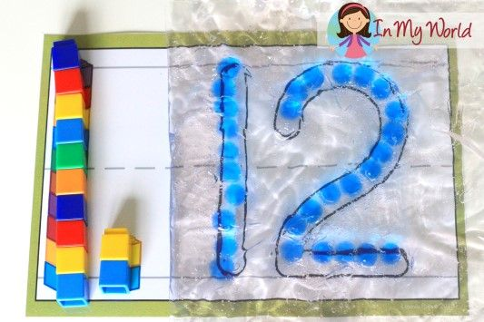 Number Play Dough Mats Sensory Writing: fill a snap-lock bag with hair gel and some gel beads and get those fine motor muscles working! Fun with unifix cubes too!