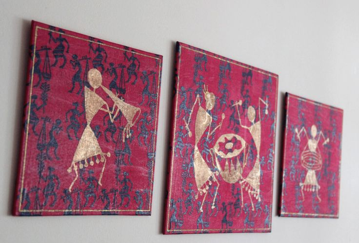 Set of three canvas, mixed media, tribal art, hand painted Warli painting, Decoupage