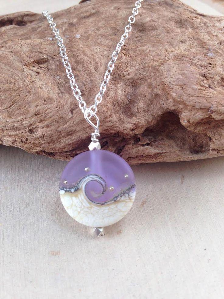 Ocean Wave Necklace, Ocean Jewelry, Purple Wave Necklace, Sea Glass Necklace, Wave Necklace, Lampwork Bead, Aqua Blue Necklace, Purple Wave by MalieCreations on Etsy