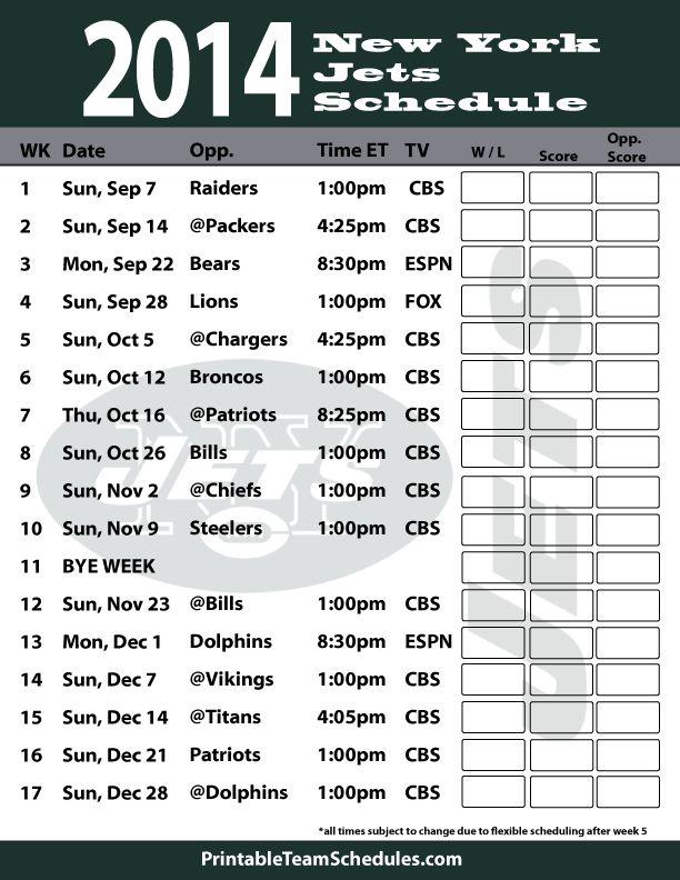 New York Jets 2014 Schedule