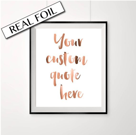 Real Copper Foil Print, YOUR CUSTOM QUOTE, Pressed Copper Foil Poster, Design your own Art A4   BUY ANY 2 PRINTS AND GET THE 3RD FOR FREE!
