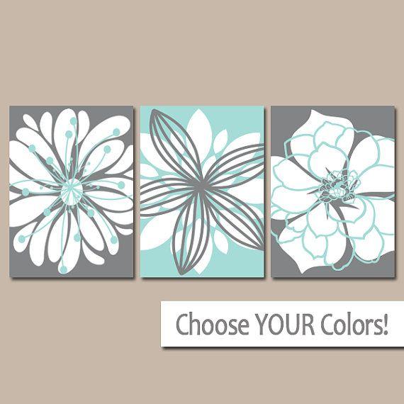 Bathroom Artwork CANVAS Or Prints Charcoal Gray Aqua Blue