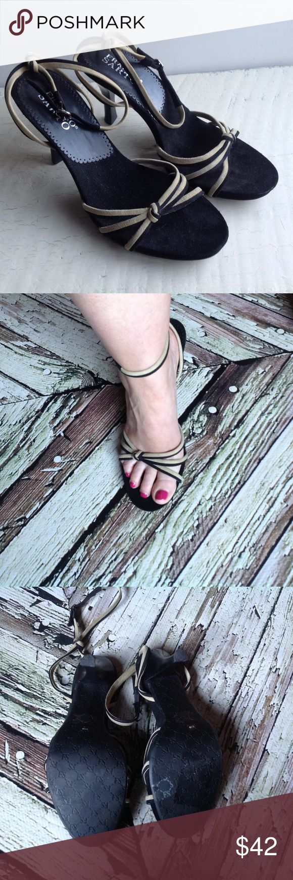 Franco Sarto sandals with ankle strap Soft footbed with suede tan and black upper, rubber sole for non slip, 3 inch heel. Franco Sarto Shoes Sandals