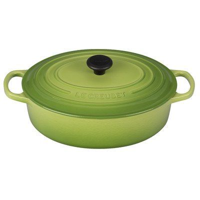 Le Creuset of America Signature Enameled Cast Iron Oval Wide Dutch Oven, 3.5-Quart, Palm