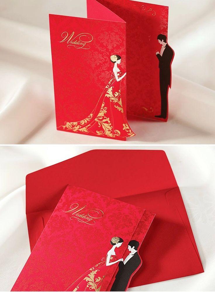 Flor romántica Printing invitaciones boda 2015 Red Laser Cut tarjeta De invitación con el sobre Convites De Casamento en Artículos de Fiesta de Casa y Jardín en AliExpress.com | Alibaba Group