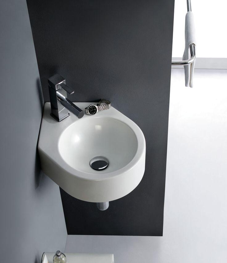 Lavabo mini bristol de porcelana y esquinero sin for Embellecedor rebosadero lavabo