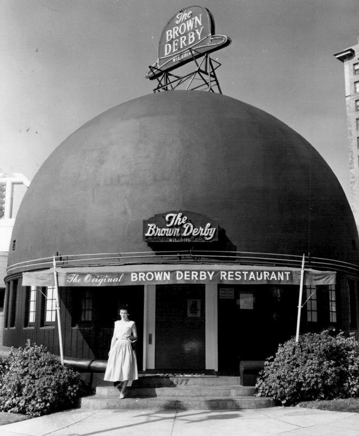 Brown Derby on Wilshire entrance, 1956, Los Angeles, California