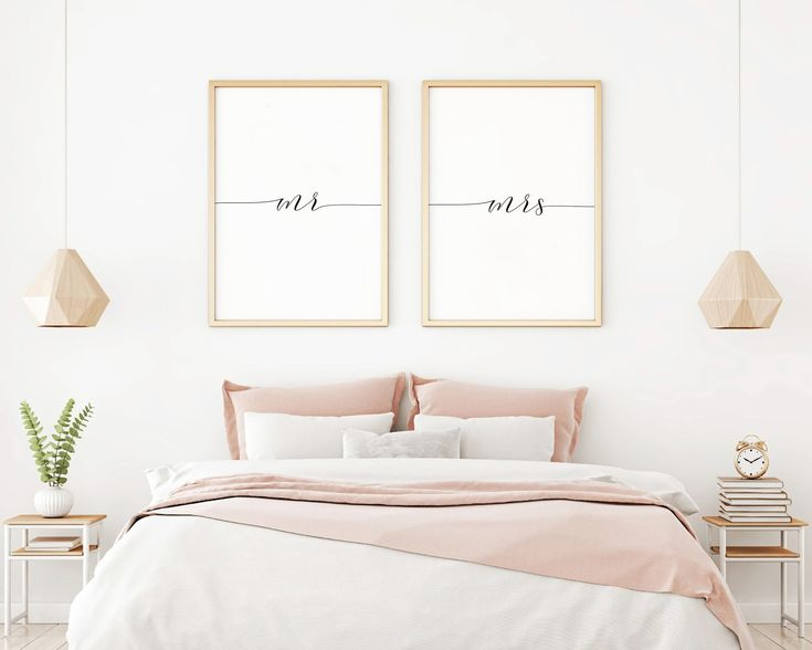 Mr And Mrs Printable Sign Set, Mr Mrs Printable Art, Bedroom Wall Art 2 Set, Minimalist Art Large, Black and White Prints, Digital Art Print