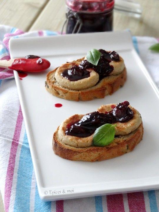 Bruschetta maison au basilic, fromage de cajou et confit de griottes { Battle bread 3 } on http://www.epicesetmoi.be