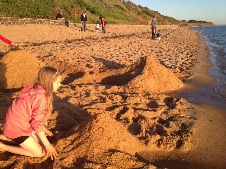 Beach Pyramids in Melbourne - Girls at Black Rock Beach