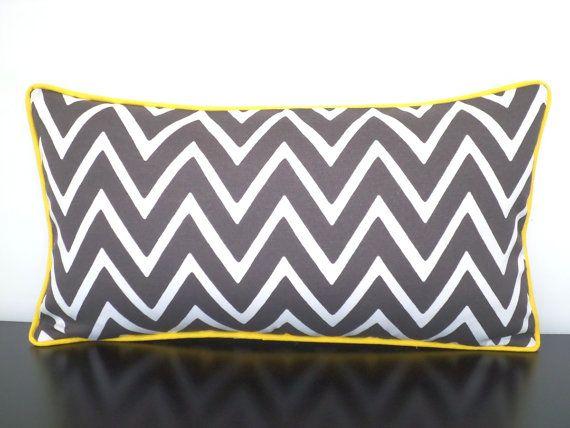 Gray Outdoor Pillow Cover 20x12, Geometric Chair Cushion Cover Outdoor  Bench, Gray And Yellow Outdoor Lumbar, Chevron Lumbar Pillow Piping