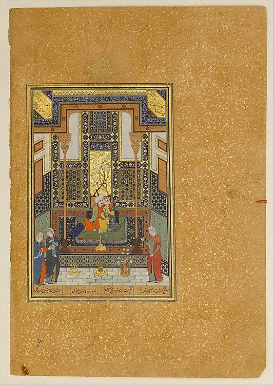"Nizami (Ilyas Abu Muhammad Nizam al-Din of Ganja) (probably 1141–1217). ""Marriage of Khusrau and Shirin"", Folio from a Khamsa (Quintet) of Nizami, A.H. 931/A.D. 1524–25. Islamic. The Metropolitan Museum of Art, New York. Gift of Alexander Smith Cochran, 1913 (13.228.7.6)"
