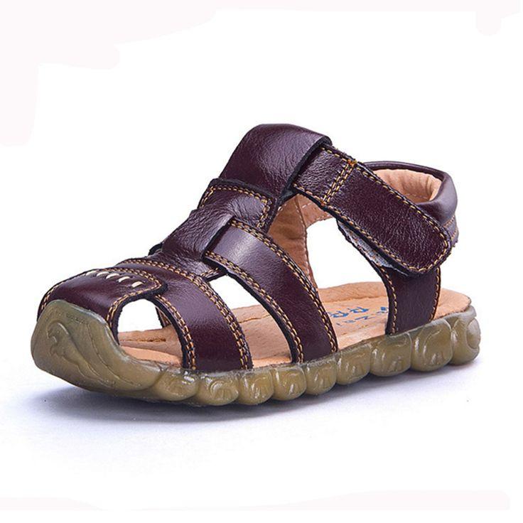 Kinderschoenen lederen koeienhuid sandalen half gat enkele schoenen casual comfortabele zomer mannelijke