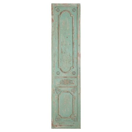 Weathered blue wall décor with decorative moldings and a light blue finish.  Product: Wall décorConstruction Material:...
