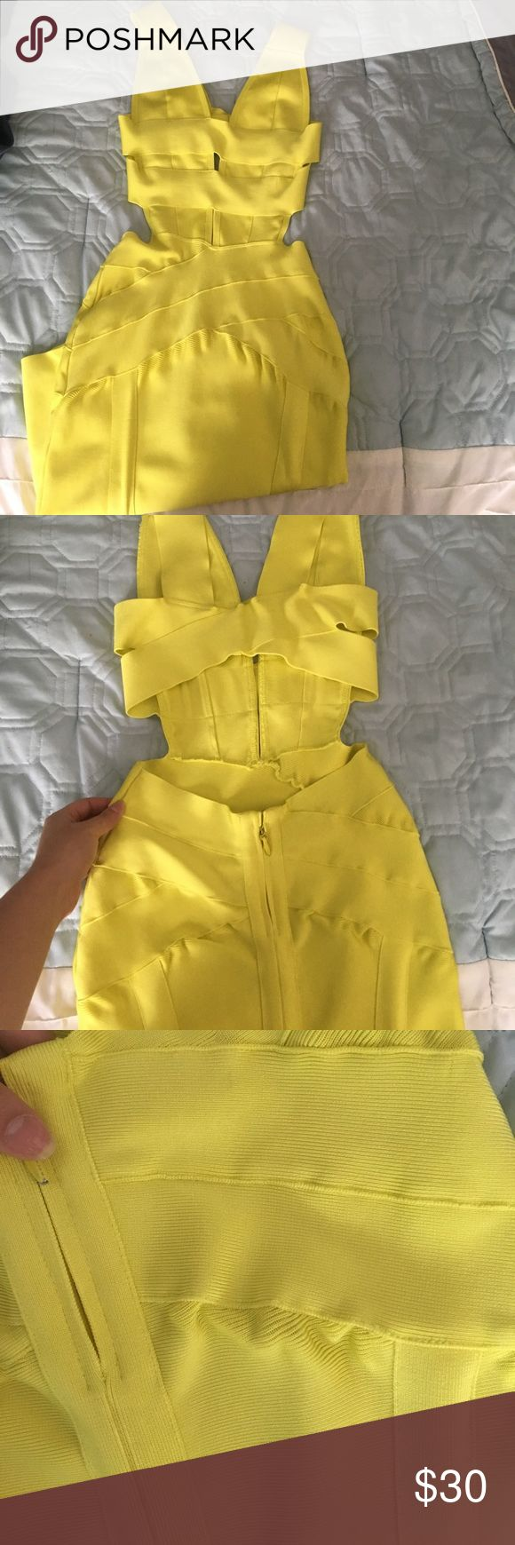 House of CB Neon Yellow Dress🔥 Super sexy dress, with a low open back ! Bandage dress material. Took it to the dry cleaning and it came back with some stretches to it (shown in pics) but other than that it is in good condition! house of Cb Dresses Midi