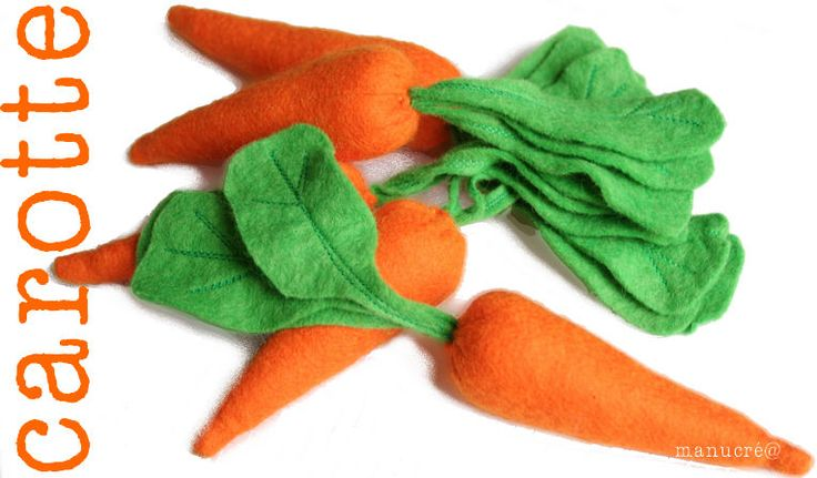 carottes et autres légumes et fruits en feutrine + un panier à fraise