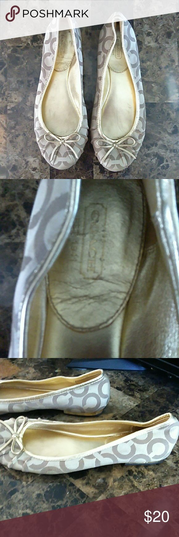 Beautiful Coach Flats ~ size 7 Beautiful coach flats size 7.  These are a reposh.  Bought them and unfortunately did not fit me.  They are SO CUTE!  They do have wear on the bottom, but shoes are in great condition! Coach Shoes