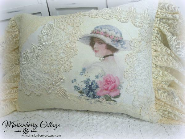 Romantic ivory crochet and lace collage pillow