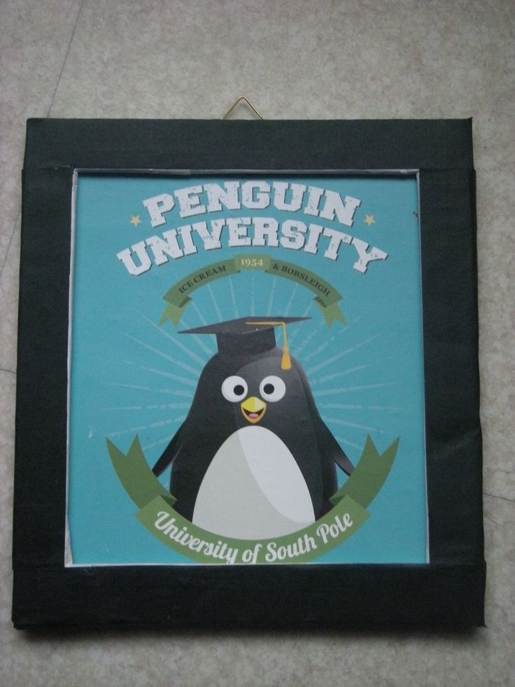 Cadre pingouin university noir et vert : Décoration pour enfants par toutankharton36