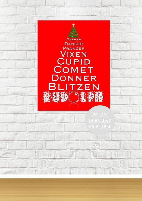 CHRISTMAS RUDOLPH REINDEER Tree Printable Wall Art by ColourMyRoom