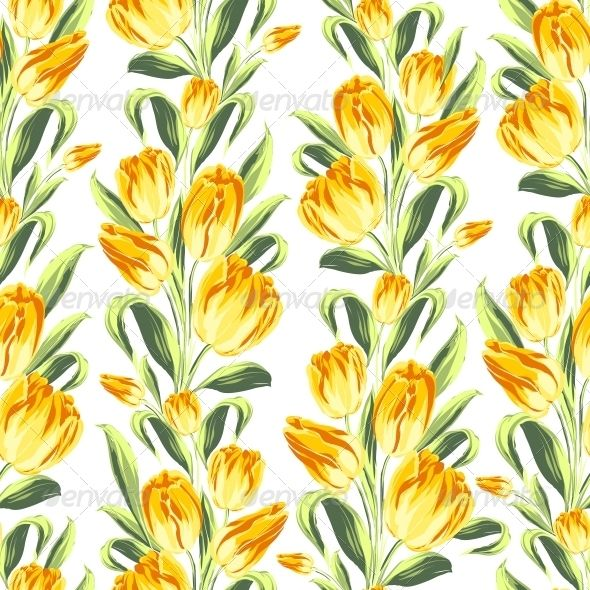 Seamless Pattern with Tulips - Flowers & Plants Nature