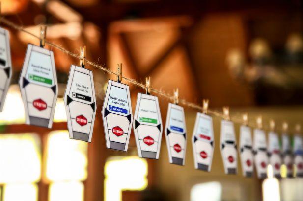 Love these gondola escort cards for a mountain wedding!