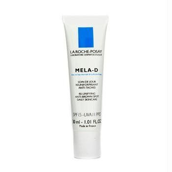 La Roche Posay Mela-D Re-Unifying Anti-Brown Spot Daily Skincare SPF 15 - 30ml/1oz by La Roche-Posay. $40.35. La Roche Posay - Day Care. Mela-D Re-Unifying Anti-Brown Spot Daily Skincare SPF 15. Skincare. 30ml/1oz. An anti-brown spot & protective treatment Formulated with kojic acid to postpone tyrosinase action Contains Mexoryl XL filter system for UVA/UVB protection to inhibit the cells' melanin production Loaded with LHA to stimulate cell renewal & improve melanin ...