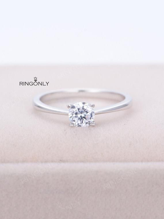 Moissanite Engagement Ring Solitaire Engagement Ring Women Wedding
