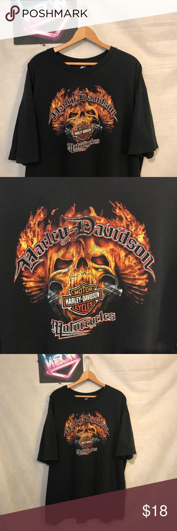 """Harley-Davidson Men Dist Black shirt Sz XL A1317 Harley-Davidson Men's Distressed Sauk City Black T-shirt Sz XL, pit to pit - 24"""", shoulder to hem - 30"""", distressed on graphic and color fading, no holes or rips ships from smoke free facility, thank you Harley-Davidson Shirts Tees - Short Sleeve"""