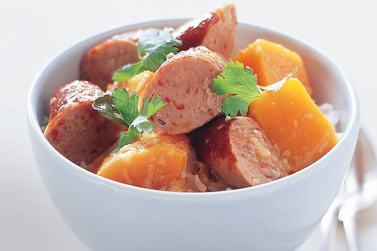 Pork sausage is given an international twist in this spicy main meal idea.