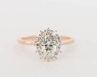 Vintage Rose Gold Oval Diamond Halo Engagement Ring