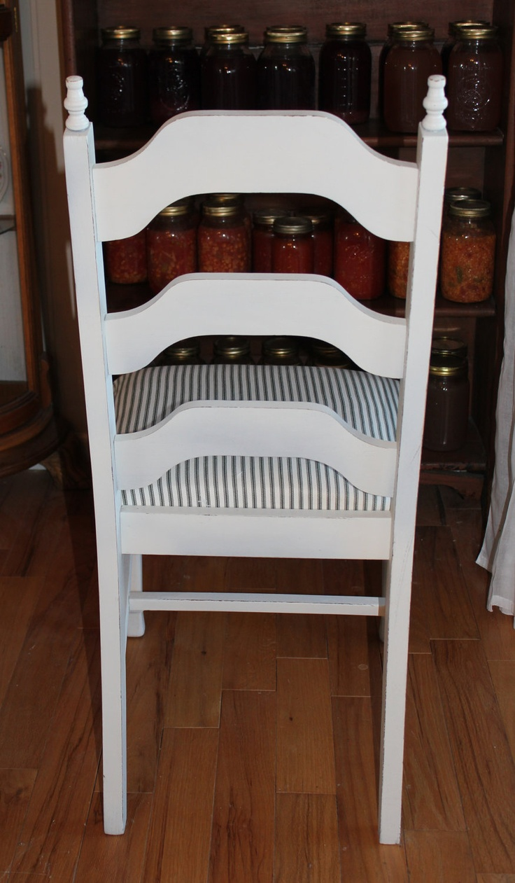 ON SALE 4 Farmhouse chic white dining chairs with ticking