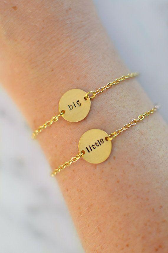 Gold Brass Sorority Big/Little Bracelet Set - Greek Letter or Big/Little, Hand Stamped, Custom