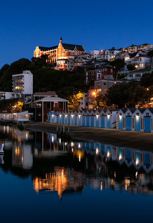 Twilight at Wellington's Oriental Bay, New Zealand, with St Gerard's Monastery