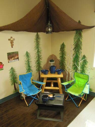Camping themed reading nook.. Love the canopy to act as the tent. Wouldn't use as many props in an actual classroom though!