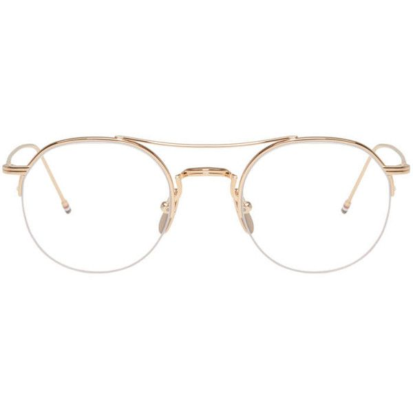 Thom Browne Gold TB-903 Glasses ($620) ❤ liked on Polyvore featuring accessories, eyewear, eyeglasses, gold, round eyeglasses, titanium frame glasses, colorful eyeglasses, thom browne glasses and colorful glasses