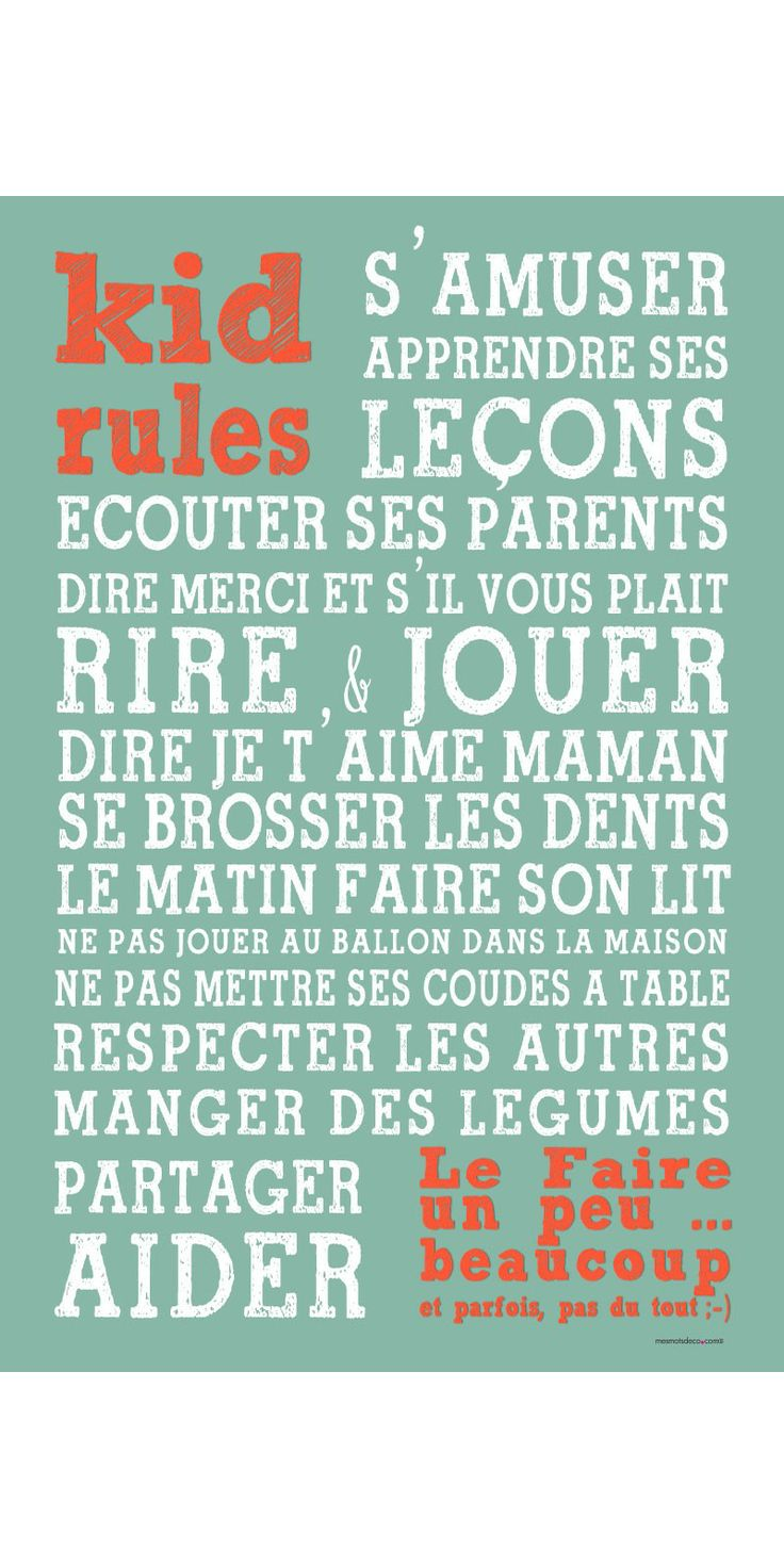 KID RULES - Kids Rules - Affiches adhésives
