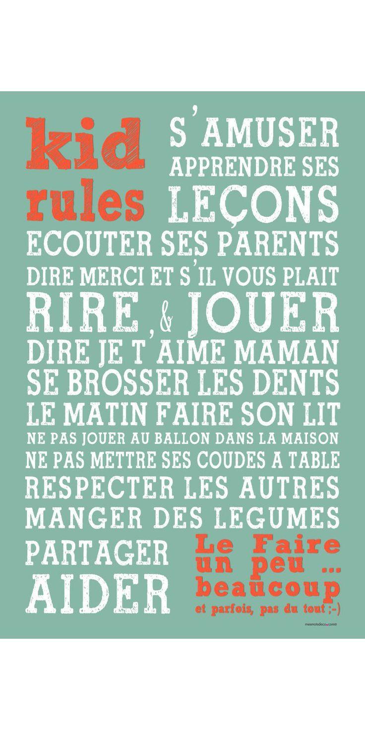 Sticker Kid Rules - Affiche Adhésive Mes Mots Déco