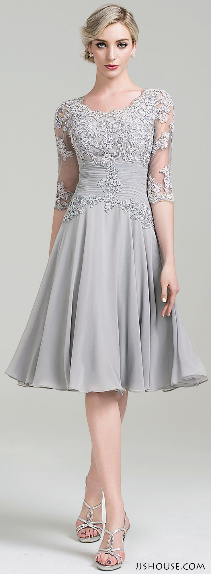 Mother Of The Bride Dresses Knee Length Gray | www ...