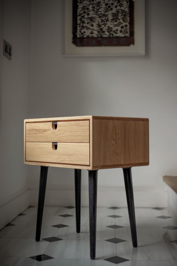 Mid-Century Scandinavian Side Table / Nightstand - Two drawers and retro legs made of solid oak by Habitables on Etsy https://www.etsy.com/listing/182767839/mid-century-scandinavian-side-table