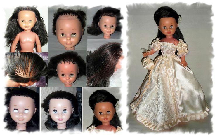 Parte frontal del cabello cortada, manchas de tinta en párpados inferiores, ojos mates y con falta se pestañas, pálida y maquillaje de labios borrado. _____________________________ - Cabello implantado con reflejos caoba, cambio de pestañas e iris, repaso de color en carita y labios