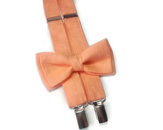 peach boys outfit for wedding peach linen suspenders matching peach linen bow tie for kids suspenders for boys suspenders for ring bearer
