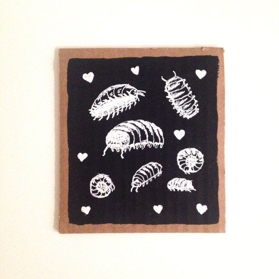 POTATO BUG LOVE Original Illustration by ladywhom on Etsy(POTATO) BUG LOVE!!!!!!!!!!!!! LOVE POTATO BUGS! ROLLIE POLLIES! Original Illustration on re-purposed cardboard approximately 4.5 x 4.5 inches Perfect for small space decorating!! one of a kind