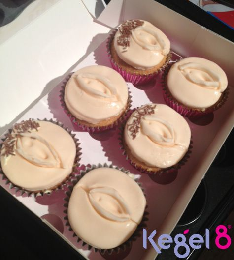 Pelvic floor exercise is the best way to keep your 'bits' where they're supposed to be and prevent prolapse! Kegel8 makes it easy. (Vagina cupcakes by Heather at Kegel8!)
