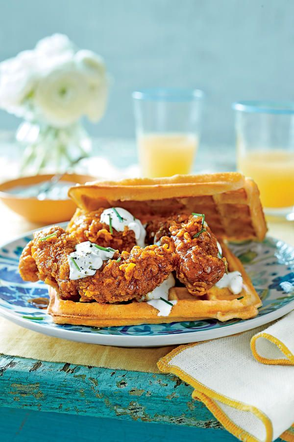 We did a taste test and loved the just-fried tenders from the Publix grocery store deli. If you don't have time to whip up homemade waffles, head to your grocer's freezer section. We like Van's Belgian Homestyle Waffles.   Recipe: Hot Chicken-and-Waffle Sandwiches