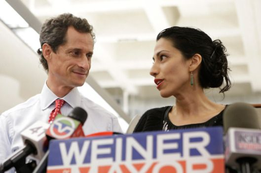 "6/13/2016 HUMA ABEDIN: Anthony Weiner & Huma Abedin Weiner. She is the ""Patron Saint of Women in crisis."""