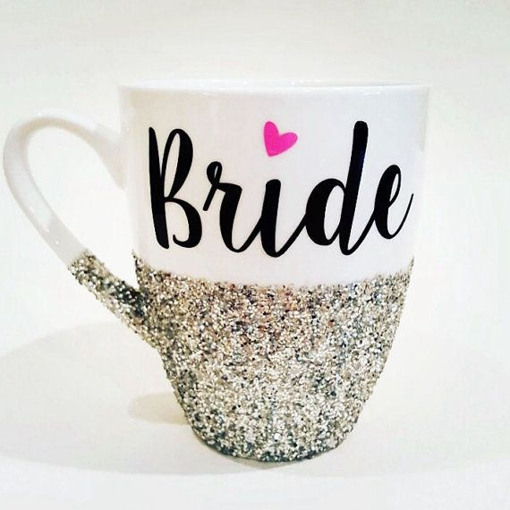 BRIDE with pink heart  hand glittered coffee mug by Boundtobeloved