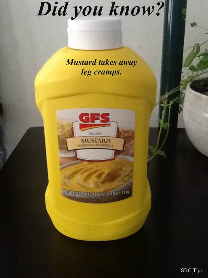 """If you ever had leg cramps you will appreciate this easy way to alleviate one. Take a teaspoon of MUSTARD!""""Cramps can be caused by a deficiency in acetylcholine, the neurotransmitter that sti…"""