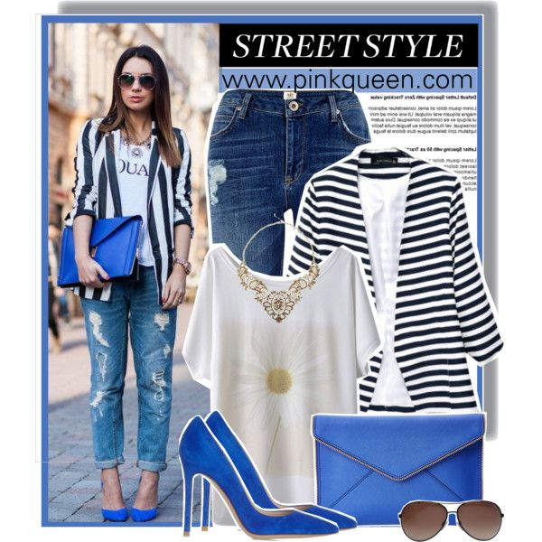 Striped style - pinkqueen.com by anne-mclayne on Polyvore featuring River Island, Gianvito Rossi, Rebecca Minkoff, Tom Ford, GetTheLook, StreetStyle, Blue, stripes and PinkQueen